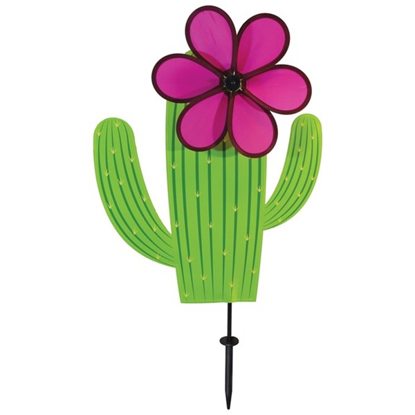 "View Cactus with 10"" Pink Flower Spinner"