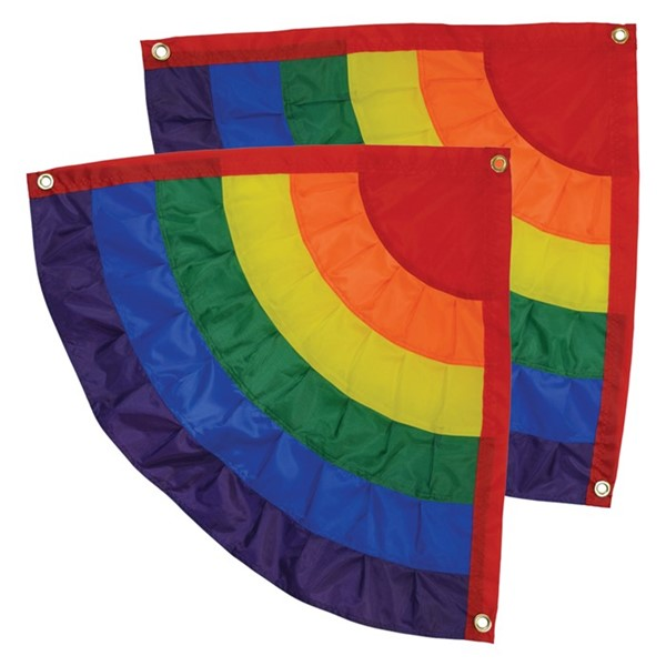 View Rainbow Ruffle Corner Bunting, Set of 2