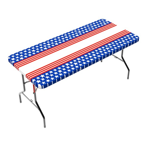 View Patriotic Stripes 6' Tablecloth
